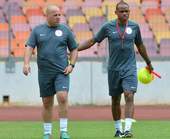 Sunday Oliseh (right) in training.
