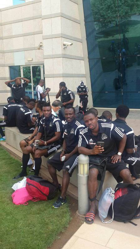 TP Mazembe team arrive infront of their hotel in Sudan