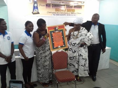 CEO of Source of Wisdom Network, Mr Osumanu Ahmedu with Nana Odupon Okomfo Abeka Sikafo II and Madam Cecilia (Founder of Nneka Foundation)