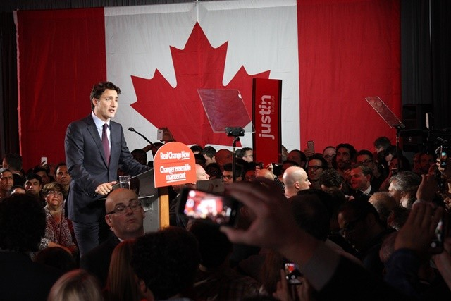 Canada's Liberal party leader Justin Trudeau gives his victory speech after the federal election, in Montreal early Oct. 20, 2015. The Liberal party defeated Prime Minister Stephen Harper's Conservatives in the general elections on Monday, according to the preliminary results published by the Elections Canada early Tuesday. (Xinhua/Mico Smiljanic)
