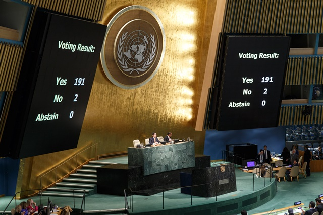 The United Nations General Assembly adopts a resolution calling for ending the economic, commercial and financial embargo imposed by the United States against Cuba at the United Nations headquarters in New York, Oct. 27, 2015. The UN General Assembly on Tuesday voted overwhelmingly to adopt a resolution, calling for ending the economic, commercial and financial embargo imposed by the United States against Cuba. (Xinhua/Li Muzi)