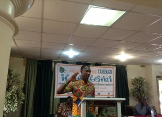 Chibeze Ezekiel, 350 G-ROC delivering a presentation at the event