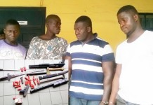 From left- Ezekiel Siaw, Samuel Odame, Samuel Divie and Frank Amponsah. INSET: Some of the weapons retrieved from the suspects.