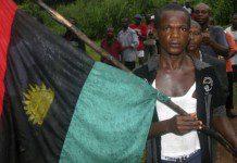 FILE - A man carries the Biafran flag during a parade in Ekwe village, near Enugu in southeastern Nigeria, May 27, 2008.