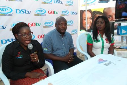 L-R: Aderoju Ope-Ajayi, Channel Relationship Manager, MultiChoice Nigeria; Abdul Azeez Iposu, Logistic Manager, PEP and Efe Obiomah, Public Relations Manager, GOtv during the Media Briefing for MultiChoice/PEP Partnership announcement held at PEP office Allen, Ikeja Tuesday, 27 of October, 2015.