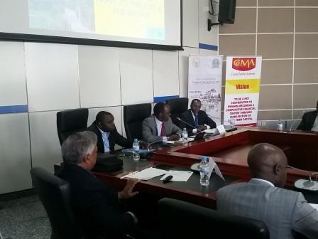 Officials and participants at the roundtable discussion on REITs in Kigali