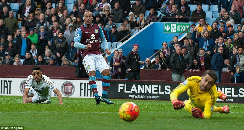 Aston Villa striker Gabriel Agbonlahor watches on as his shot drifts wide of Lukasz Fabianski's goal following a neat one-two