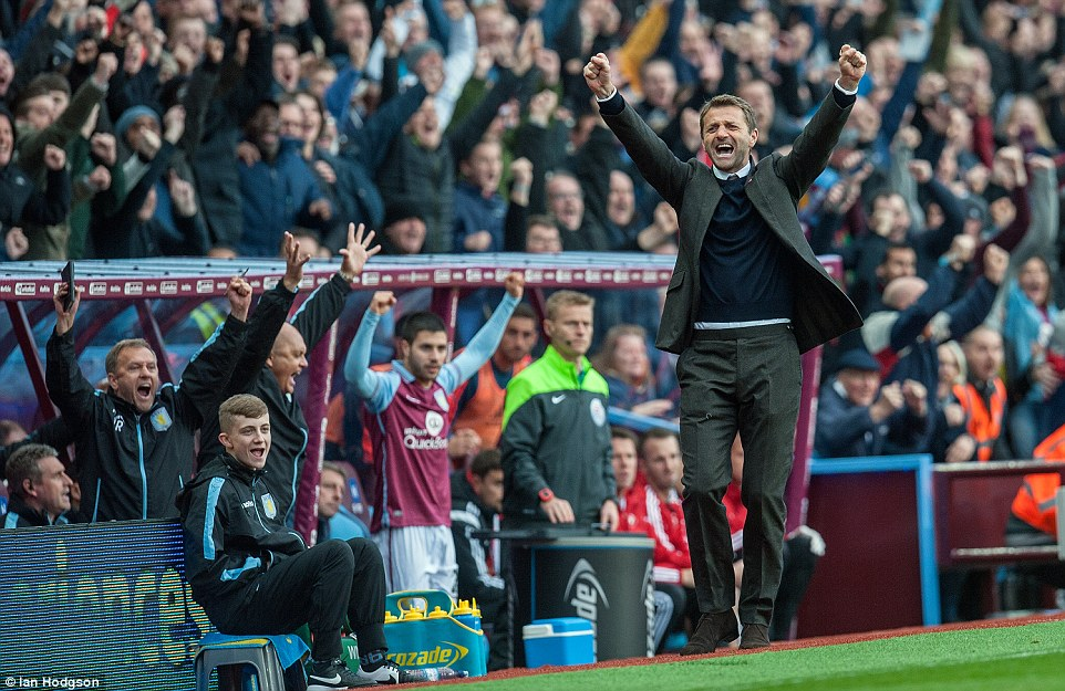 Aston Villa boss Tim Sherwood celebrates after Aston Villa took the lead six minutes before Sigurdsson's stunning strike