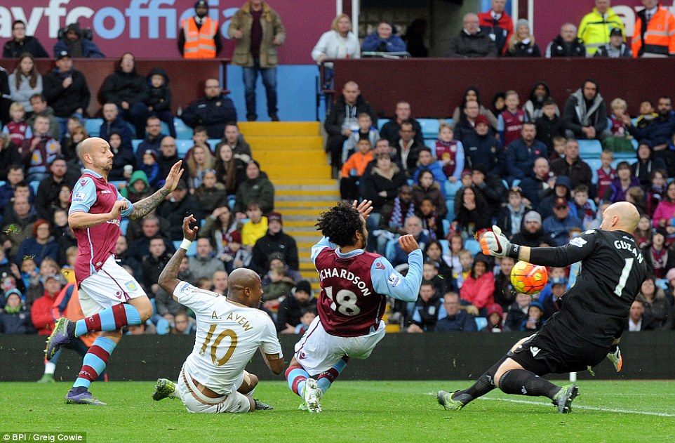 Ayew was denied by Guzan for Swansea moments before his brother Jordan gave the hosts the lead at Villa Park