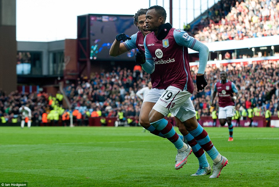 Jordan Ayew is congratulated by team-mate Rudy Gestede following his header to give the hosts the lead at Villa Park