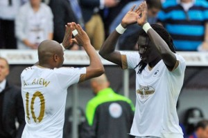 Swansea City coach Garry Monk has expressed delight over Andre Ayew's goal against Tottenham which gave them the lead in the 2-2 in the Premier League match.