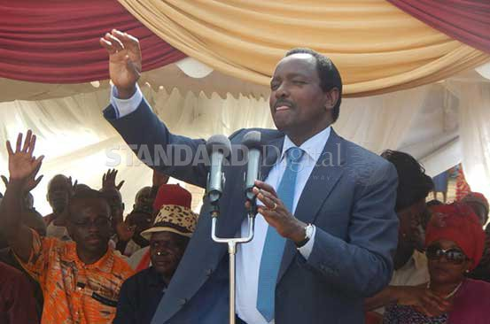 CORD leader Kalonzo Musyoka with Opposition MPs during the burial of Mr Denis Odula, father in-law of Mavoko MP Patrick Makau at Lala Village in Homa Bay town, Friday. PHOTO: JAMES OMORO/STANDARD