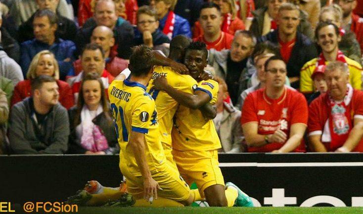 Ebenezer Assifuah celebrates his goal for FC Sion against Liverpool