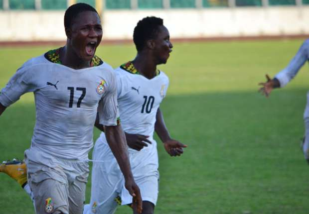 Joel Fameyeh celebrating for the Local Black Stars