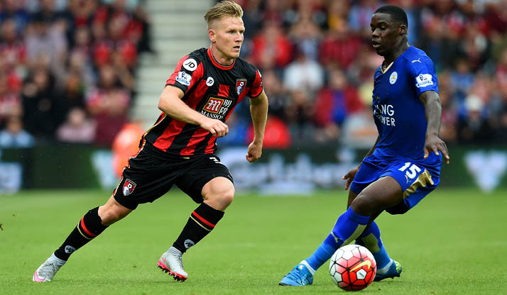 Ghana's Jeffrey Schlupp in action for Leicester City against Bournemouth