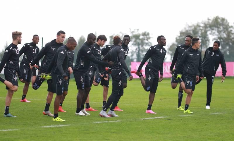 Ghana defender Jonathan Mensah training with Evian team mates