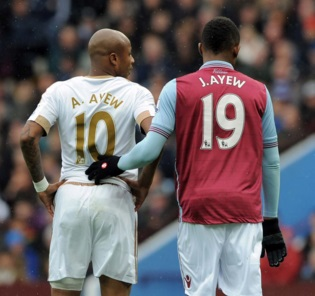 Jordan Ayew, right with his brother Andre Ayew, scored against each other