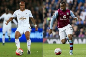 The Ayew brothers go head to head in the English Premier League on Saturday as Swansea has named Andre in its starting line-up with Jordan also in the starting team for Aston Villa.