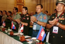 ASEAN delegates attend the 3rd ASEAN Peacekeeping Centers Network Meeting in Phnom Penh, Cambodia, Oct. 7, 2015. Senior peacekeepers from the Association of Southeast Asian Nations (ASEAN) met here on Wednesday to exchange experience and expertise in the United Nations Peacekeeping Operations. (Xinhua/Sovannara)