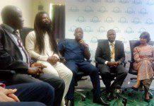 Picture of dignitaries at the Clean Cooking Forum 2015 (from right): Radha Muthiah, Mr Emmanuel Armah-Kofi Buah, Mr John Ackon, Rocky Dawuni and Mr Nicholas Manu