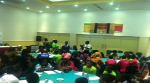 MPs in a round table meeting at the Clean Cooking Forum with members of the Ghana Girls Guide Association
