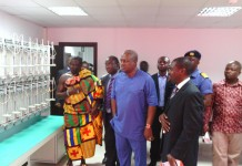 President Mahama touring the facilities at IMES