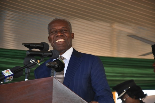 Vice President Amissah-Arthur addressing the students and other participants at the launch of Equip Lead Today