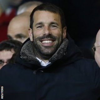 Ex-Manchester United striker Ruud van Nistelrooy was at Old Trafford on Wednesday to watch his old side against PSV Eindhoven