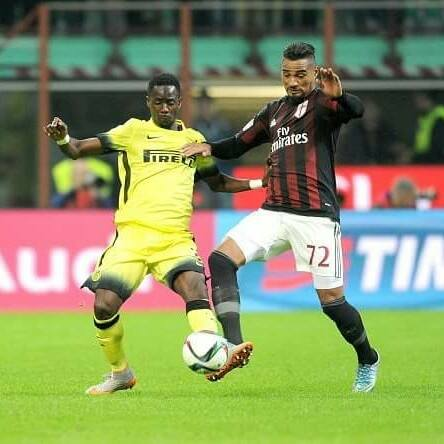 Bright Gyamfi, in a tussle with Kevin-Prince Boateng in the Luigi Berlusconi Trophy in September