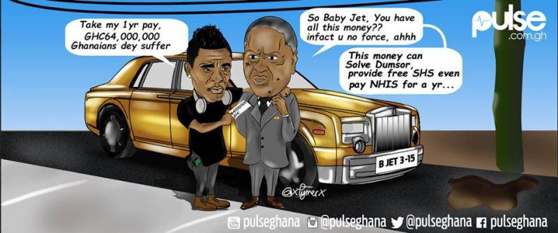 The funny cartoon of Asamoah Gyan in a hearty chat with President Mahama
