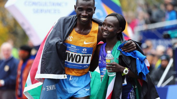 Kenyans Stanley Biwott and Mary Keitany