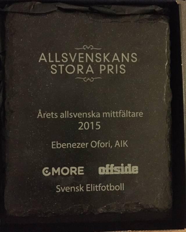 Ebenezer Ofori wins 2015 Best Midfielder Award in Sweden.