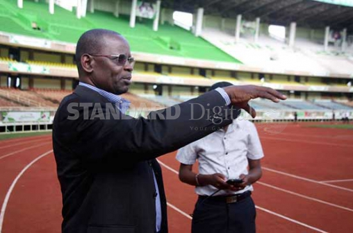 Fr Stephen Okello, co-ordinator of the Pope's visit, talks about the security situation at the Safaricom Stadium in Kasarani, yesterday. Pope Francis will address over 200,000 youths in Nairobi. PHOTO: DAVID NJAAGA/STANDARD