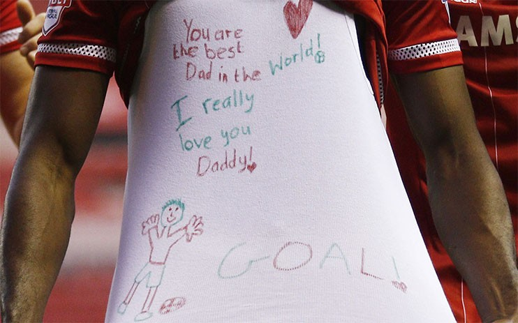 Middlesbrough's Ghana international winger Albert Adomah has revealed a touching celebratory undershirt all designed by his own child with a very sweet message.