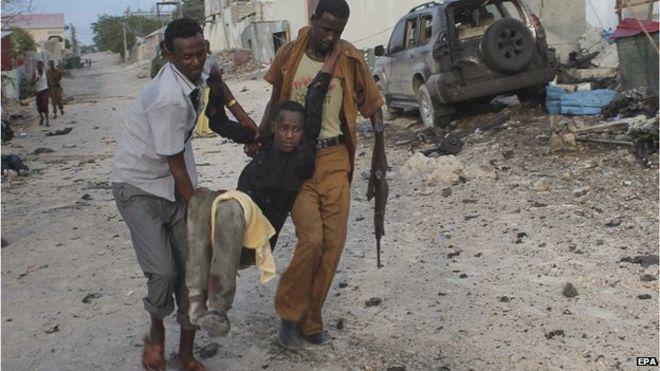 Residents of Mogadishu say that they heard a loud bang at dawn..followed by gunfire