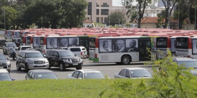 A line-up of the rebranded buses at the forecourt of the State House.