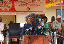 Vice President Paa Kwesi Amissah Arthur addressing the Blood Donor Day