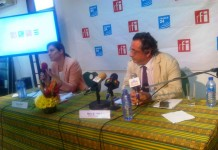 Ms Cecile Megie (left), the Director, RFI with Mr Marc Saikali, the Director, France 24, at the launch of the two-day programme