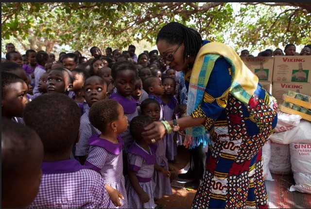 H.E. Lordina Mahama interacting with children at the Christ Faith Foster Home at Frafraha near Accra