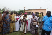 Bishop Fianu breaking the ground for commencement of work for a modern OPD.