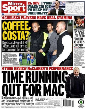 Daily Mirror's back page on Friday