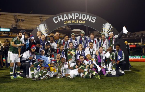Adam Kwarasey and Portland Timbers players celebrating their MLS Cup triumph.