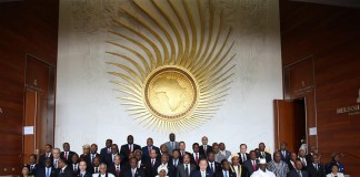 Hads of the African Union (AU) members and guests pose for a group photo during the 26th AU summit in Addis Ababa, capital of Ethiopia, on Jan. 30, 2016.