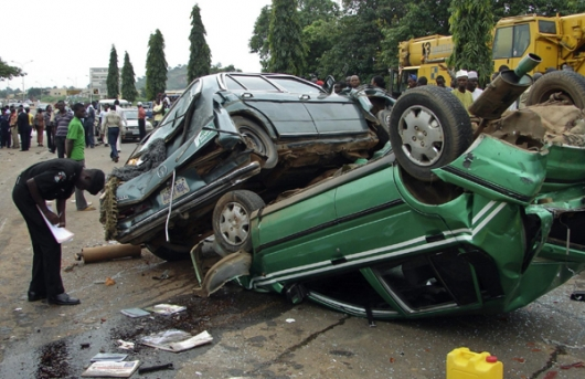 2. A police officer examing an accident scene