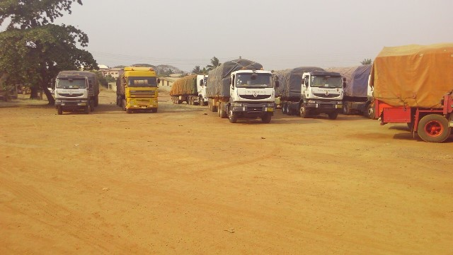trucks carrying cocoa beans