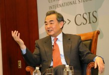 Chinese Foreign Minister Wang Yi talks about China-US relations and China's economic development in the Statemen's Forum at the Center for Strategic and International Studies in Washington on Thursday. During his US visit, which began on Monday and ended on Thursday, Wang met with US President Barack Obama, Secretary of State John Kerry and other top US government and opinion leaders, and discussed important bilateral, regional and global issues. [China Daily]