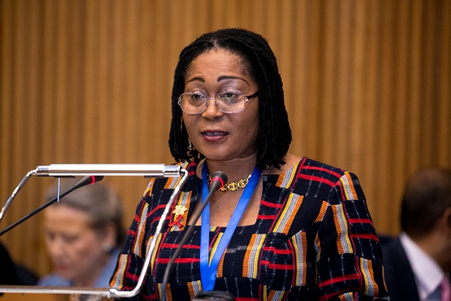First Lady Lordina Mahama addressing a working Lunch hosted with GAVI in Addis Ababa