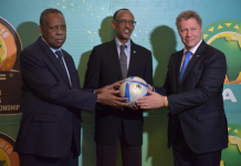 President Issa Hayatou of CAF, His Excellency President Paul Kagame of the Republic of Rwanda and Gavi CEO Dr. Seth Berkley