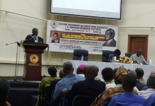 Image shows Dr Fordwor, addressing the public at the J. B. Danquah Memorial Lecture
