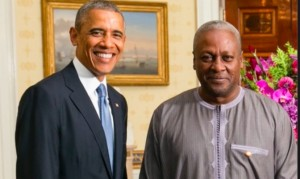 File: President Mahama at a meet-the-press event,